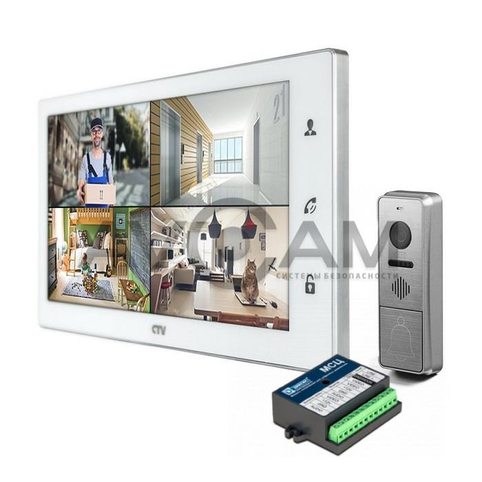 Комплект цветного видеодомофона формата AHD с датчиком движения и WIFI CTV-DP4102FHD (FULL HD) с блоком сопряжения Даксис МСЦ