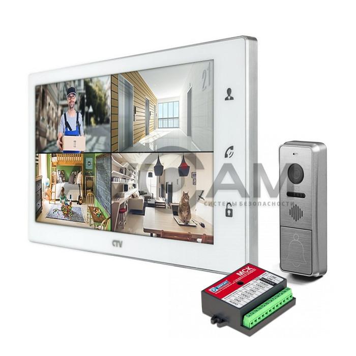 Комплект цветного видеодомофона формата AHD с датчиком движения и WIFI CTV-DP4102FHD (FULL HD) с блоком сопряжения Даксис МСК