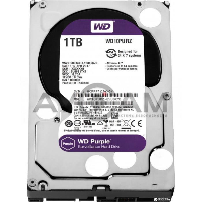 Жёсткий диск WD Purple WD10PURZ, 1Тб