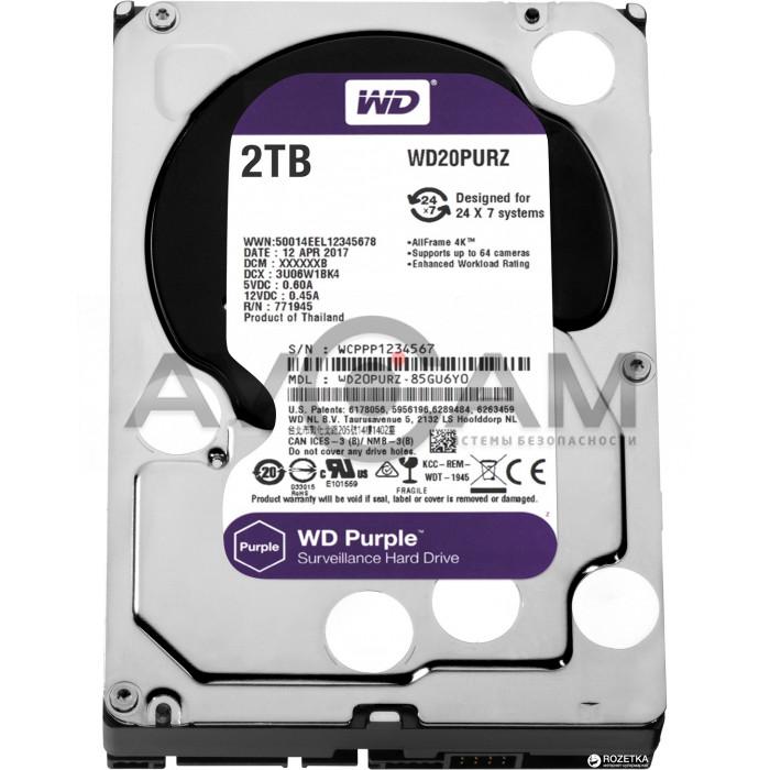 Жёсткий диск WD Purple WD20PURZ, 2Тб