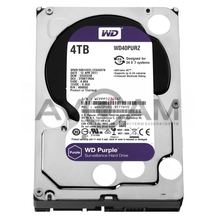 Жёсткий диск WD Purple WD40PURZ, 4Тб