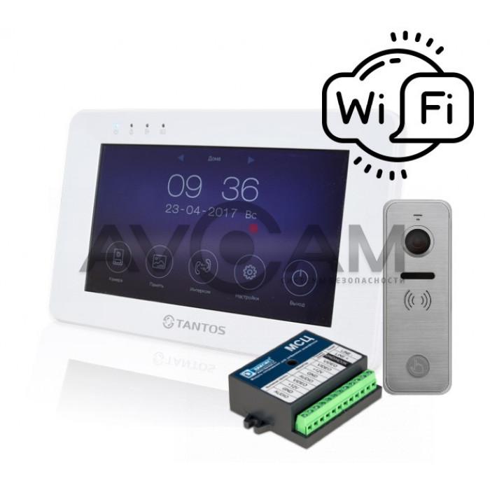 Комплект IP видеодомофона Tantos Rocky WIFI+ вызывная панель 110 градусов Ipanel 2 + цифровой блок сопряжения Даксис МСЦ