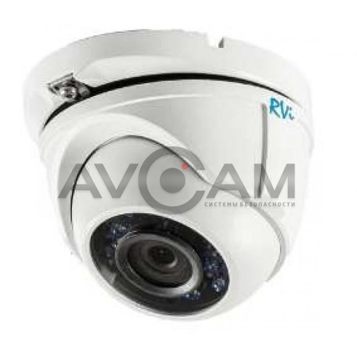 Купольная антивандальная видеокамера стандарта HD-TVI с ИК подсветкой RVi-HDC321VB-T