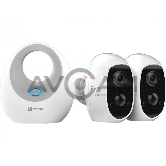 Комплект-2 беспроводных автономных IP видеокамер с WIFI и базовая станция  Ezviz CS-W2D-B2
