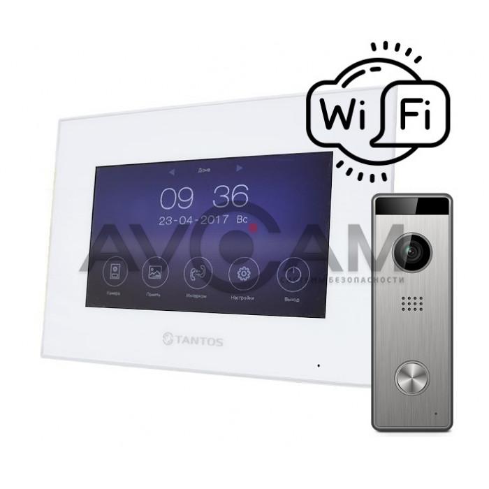 IP Видеодомофон с детектором движения и встроенным WIFI Tantos Marilyn HD + вызывная HD панель на 130 градусов (комплект)