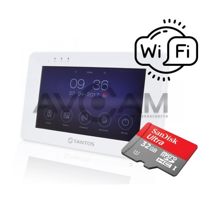 IP Видеодомофон с детектором движения и встроенным WIFI Tantos Rocky + карта памяти 32GB